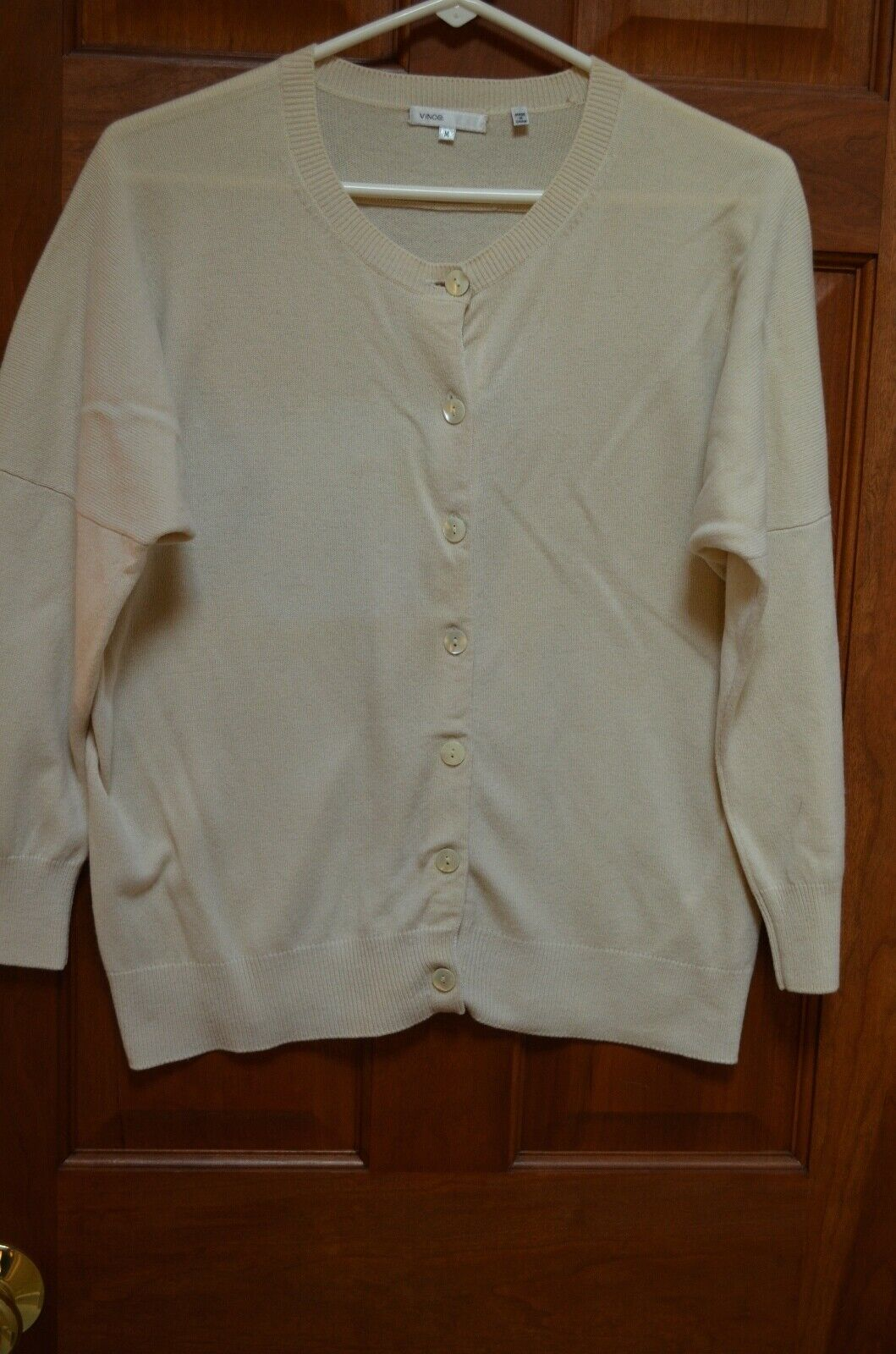 Vince Beige 100% Cashmere Button Down 3 4 Sleeve Cardigan Sweater Size M