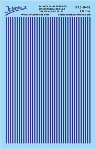 Naßschiebebild BA3-10-16 90x140 mm Streifen Decal 1 mm dunkelblau