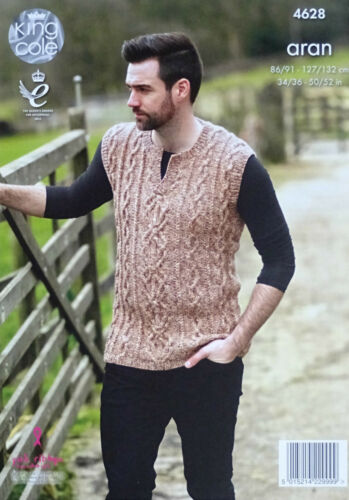 KNITTING PATTERN Mens Long Sleeve /& Sleeveless Cable Jumpers Aran King Cole 4628