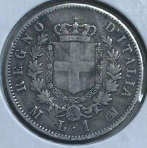 1863 M BN Italy 1 One Lira - Silver