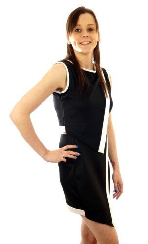 Damen Kombination Top mit Rock Kurz Zweiteiler 2er Set Schwarz Kostüm Stretch