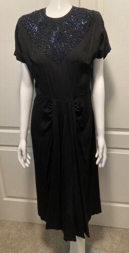 FABULOUS Vintage 30s 40s Black Rayon Dress w/ Blue