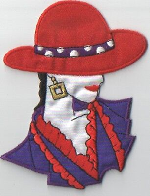 USA Seller Iron On Red Hat Lady Hat with Flowers Patch Applique 1298