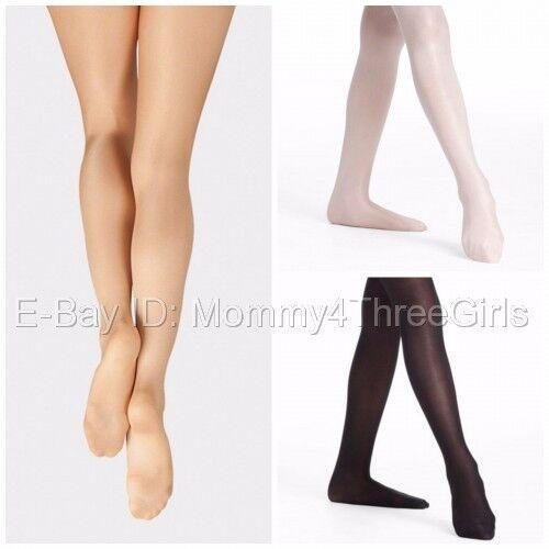 8-10 Ballet Pink Footed Tights with Backseam Danskin 65 Child Size Medium
