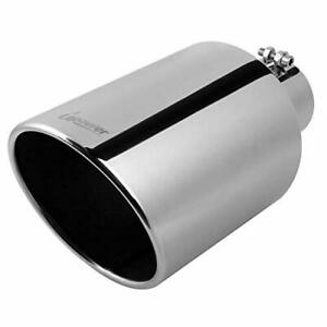 4 Inlet 6 Outlet 15 Long 304 Stainless Steel Polished Finish Angled Cut Rolled Edge Universal Exhaust Tip