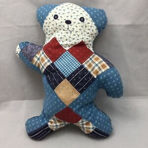 Details about Quilt Patchwork Teddy Bear Blue White Brown Flat Print Plush  14