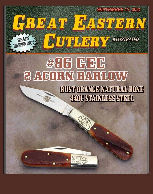 GEC #86 Great Eastern Cutlery Two Acorn Barlow Rust Orange Natural Bone 861121