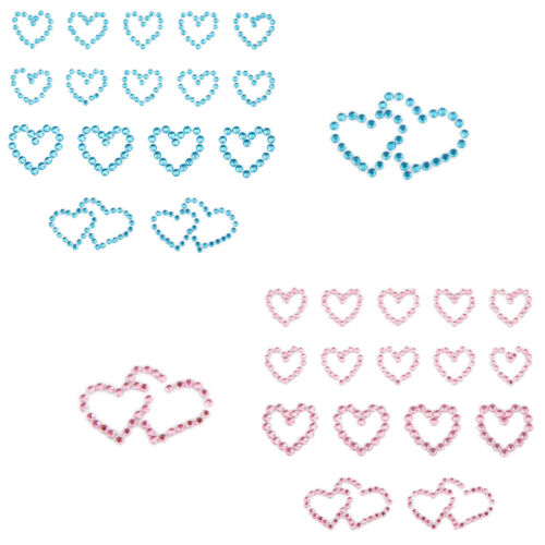 Wählbar 16x Herz Sticker Strass Steine Verzieren Aufkleben Basteln Rosa Blau