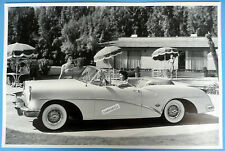 """12 By 18"""" Black & White Picture 1954 Buick Skylark Convertible Top Down"""