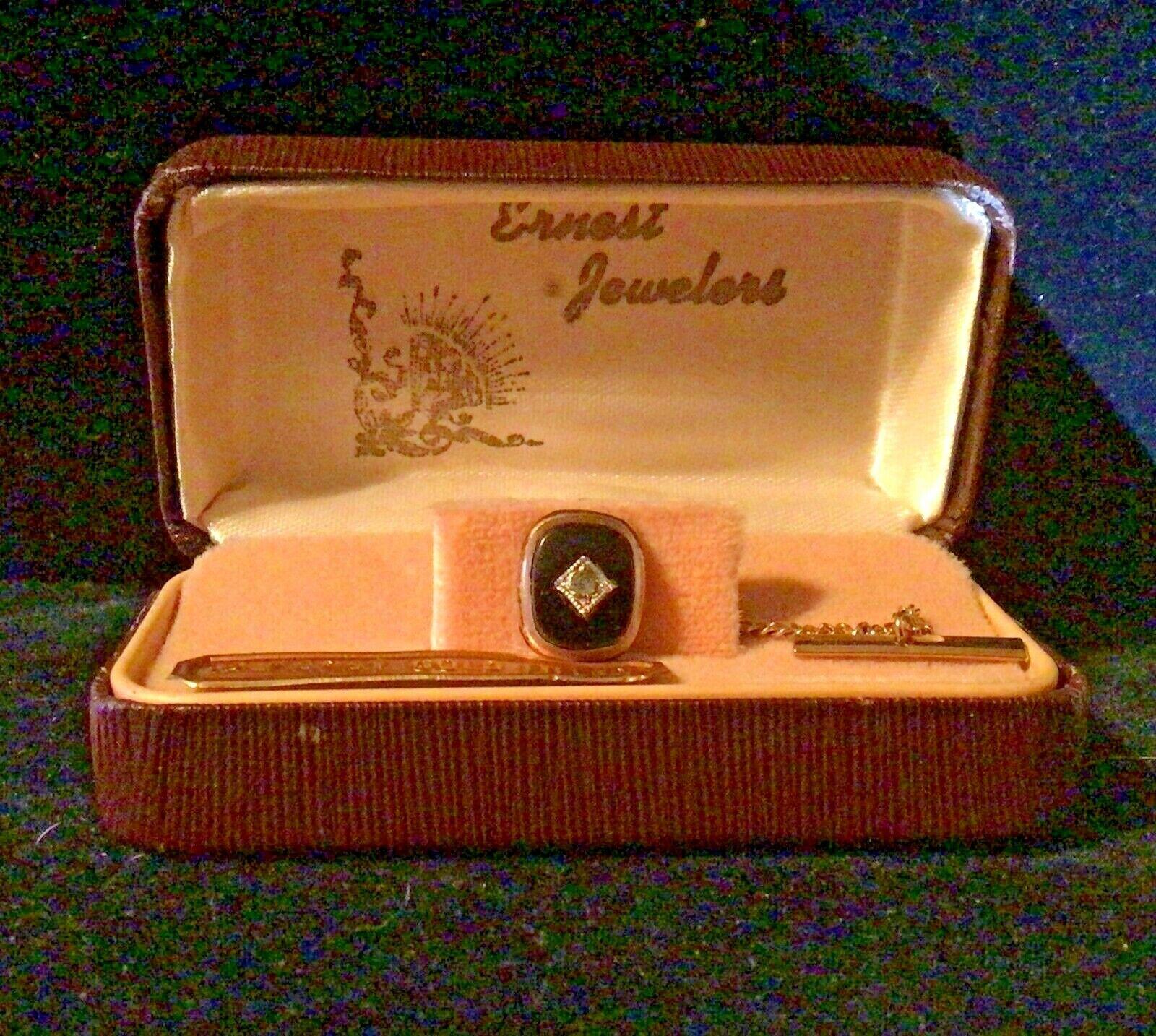 Dolan Bullock Oval Gemstone Pin Vintage D-B 14K Opal and Onyx Tie Tack