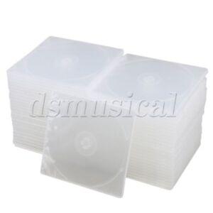12-9x12-6cm-Transparent-Slim-Single-Disc-CD-DVD-Jewel-Cases-Set-of-50