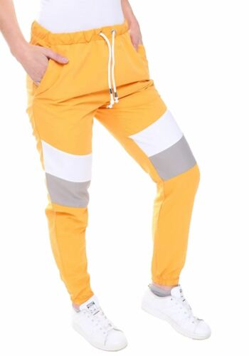 Womens Contrast Panelled Festival Joggers Ladies Fancy Party Gym Wear Trouser