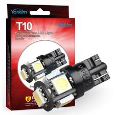 Yorkim Super White 5th T10 Wedge 5 SMD 5050 LED Light bulbs W5W 2825 194 10PCS