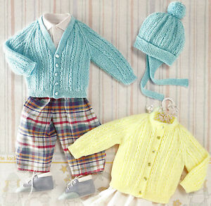eeca9e06c BABY CARDIGANS   HAT KNITTING PATTERN 0 3 YEARS 4 PLY (1003)