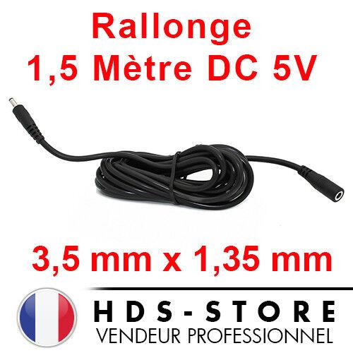 RALLONGE D'ALIMENTATION DE 1,5 MÈTRE POUR CAMERA IP DC 5V 3,5 mm X 1,35 mm NOIR