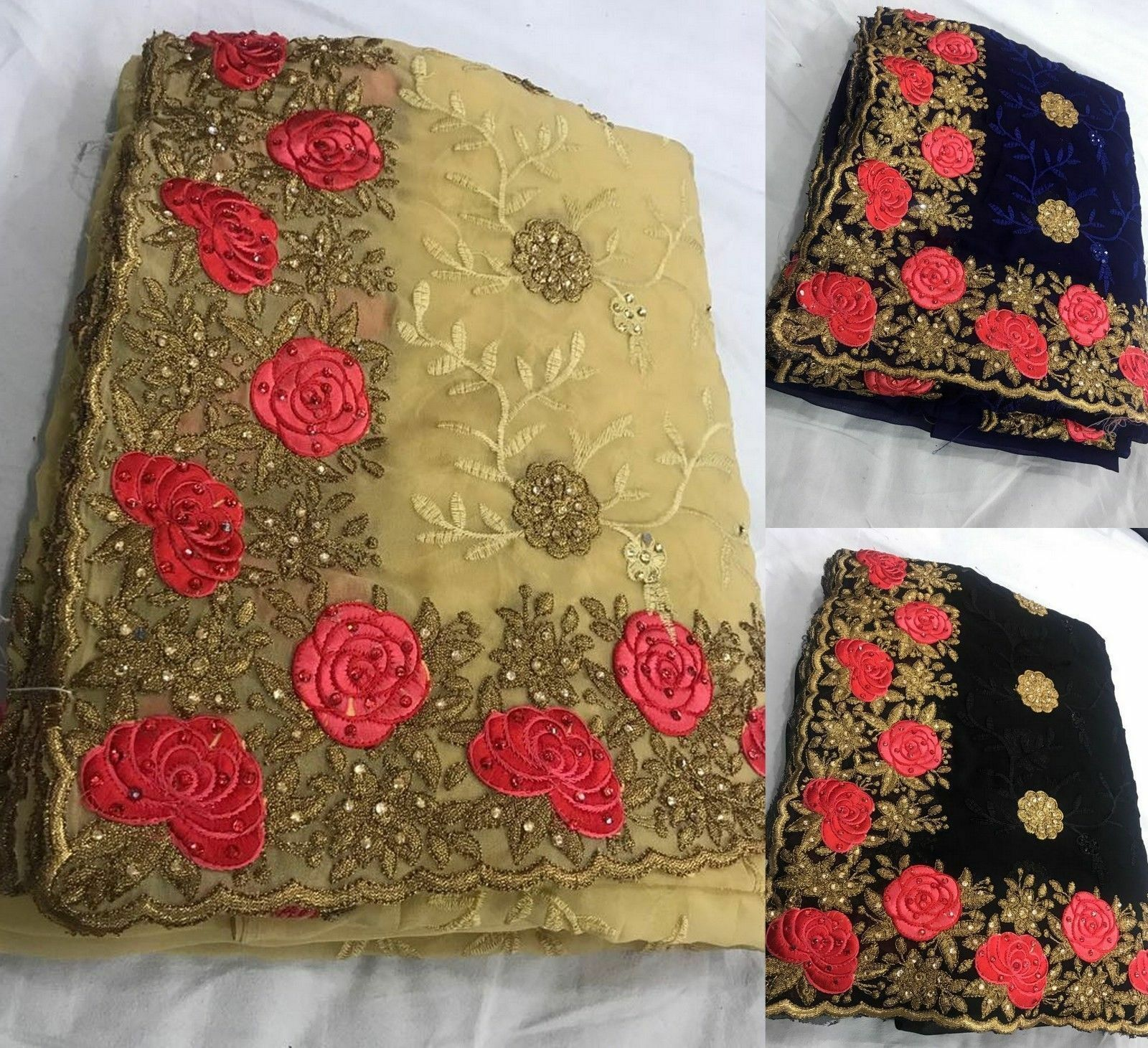 Pakistani indian Designer Bollywood saree embroidery work traditional sari