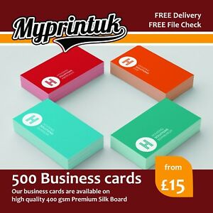 500 business cards 400gsm premium silk artboard double sided ebay image is loading 500 business cards 400gsm premium silk artboard double reheart Choice Image