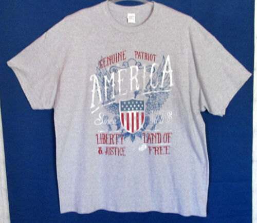 Genuine Patriot America Liberty Land Of Justice The Free Men/'s T Shirt 2XL New