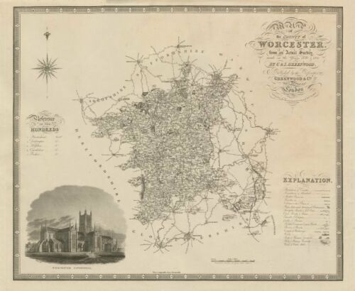 """Map of the county of Worcester"" Worcestershire GREENWOOD 75x60cm 1830 old"