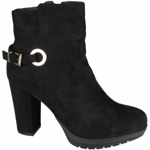 Womens Ladies Ankle Boots Faux Suede Zip High Block Heel Work Buckle Shoes Size