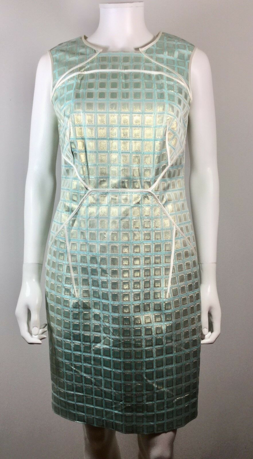 PER SE Metallic Teal Sleeveless Sheath Dress Größe 2