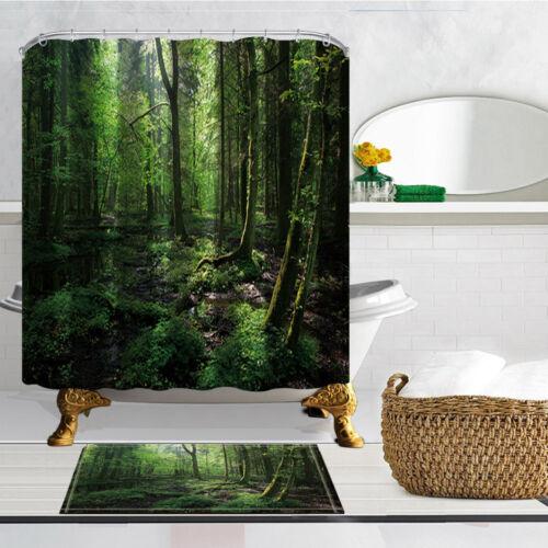 Swamp scenery Waterproof Fabric Shower Curtain /&Bath Rug Mat Contour Hooks Set