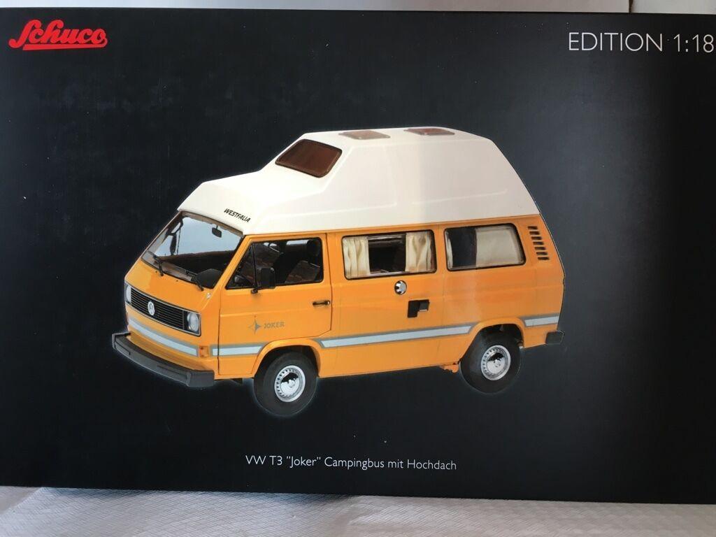 VW t3 Joker orange-bianco 1:18 Schuco 385 NUOVO & OVP