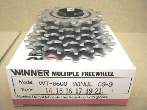 w//Silver Finish 14x21 New-Old-Stock Suntour Winner Ultra 6-Speed Freewheel