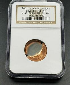 OBV Indent + Broadstrike Coin Error 2001 P Lincoln Memorial Cent NGC MS66 RD