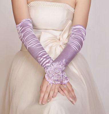 Attivo Funky Nuovi Gomito Lilla Nozze/sera/party Senza Dita Pizzo Guanti Di Raso Da Sposa-g/party Fingerless Lace Satin Bridal Gloves It-it Mostra Il Titolo Originale