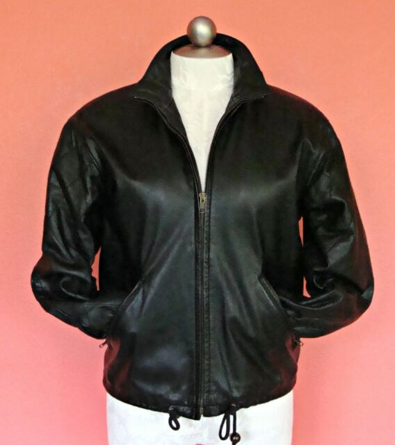 Women XS 2 4 6 Black Leather Jacket Bomber Zip Up Classic Boyfriend Padded Vtg