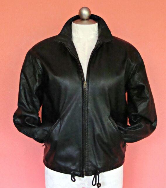 Women XS 2 4 6 Black Leather Jacket Bomber Zip Up Classic Boyfriend Padded Vtg