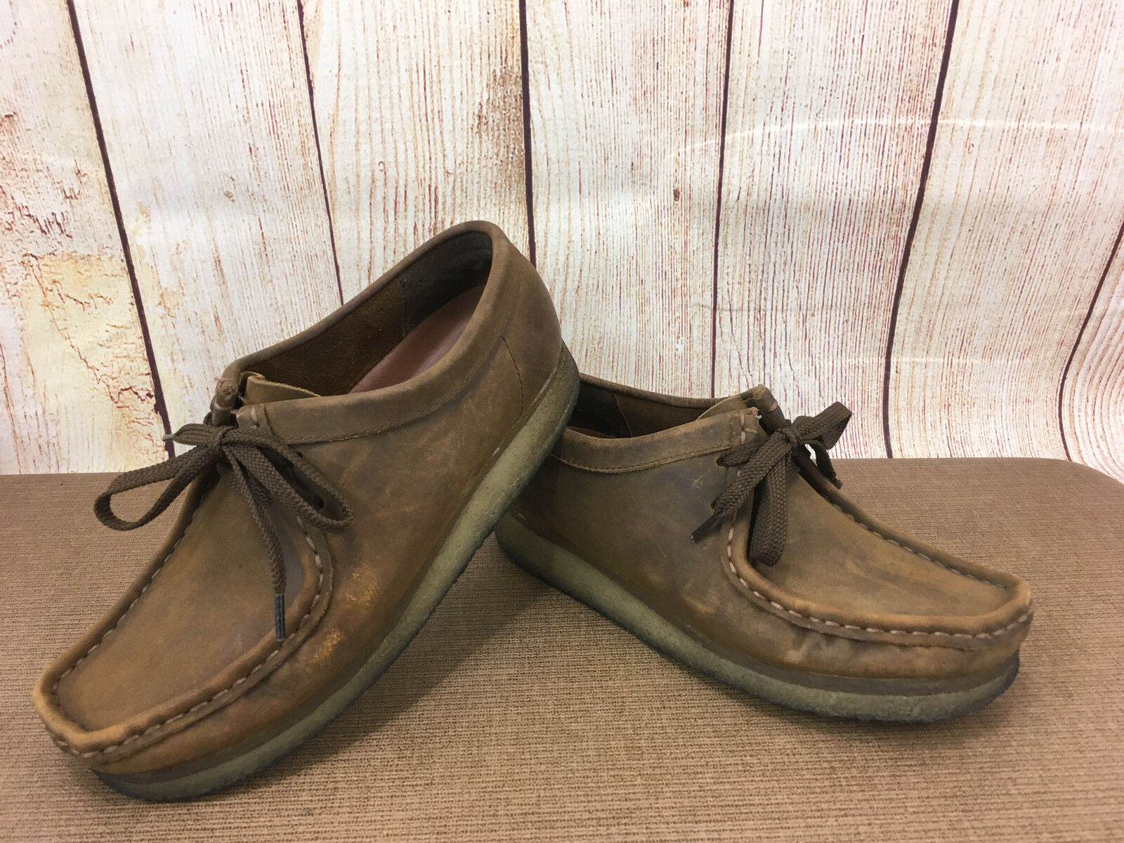 CLARKS Wallabees Chukka 38257 Brown Leather Beeswax  Womens 7.5M H11(5)