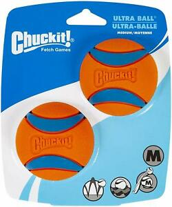 BRAND-NEW-Chuckit-Ultra-Dog-Fetch-Pet-Ball-Medium-2-5-034-2-Pack-Orange-Blue