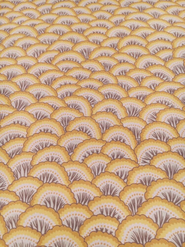 Vintage Wallpaper Yellow Scales Fan Shells Handprint by Clarence House