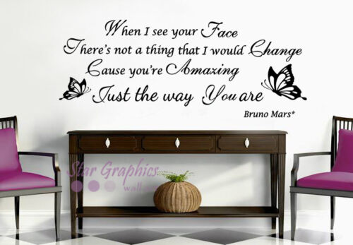 Bruno Mars Just The Way You Are Song Lyrics Wall Art Quote Vinyl ...