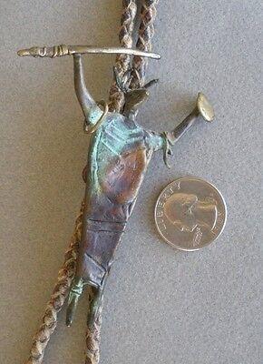 "Bill Worrell bronze shamanistic sculpture bolo tie signed shaman tips 3.5 x 3"""