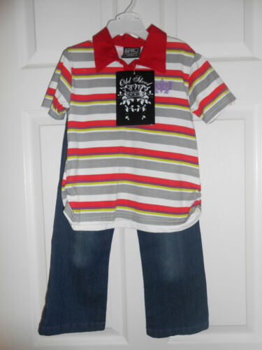 Details about  /Old Skool Girls Red Striped Polo Top /& Jeans Set Size 4T New