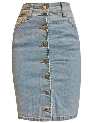 Womens Ladies Denim 7 Button Up Pocket Light Wash Pencil Short Mini Party Skirt