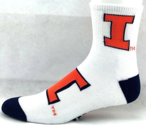 Illinois Fighting Illini NCAA Deuce Quarter Socks White with Orange and Blue