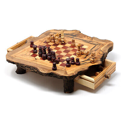 Beldinest Rustic Red Olive Wood Chess