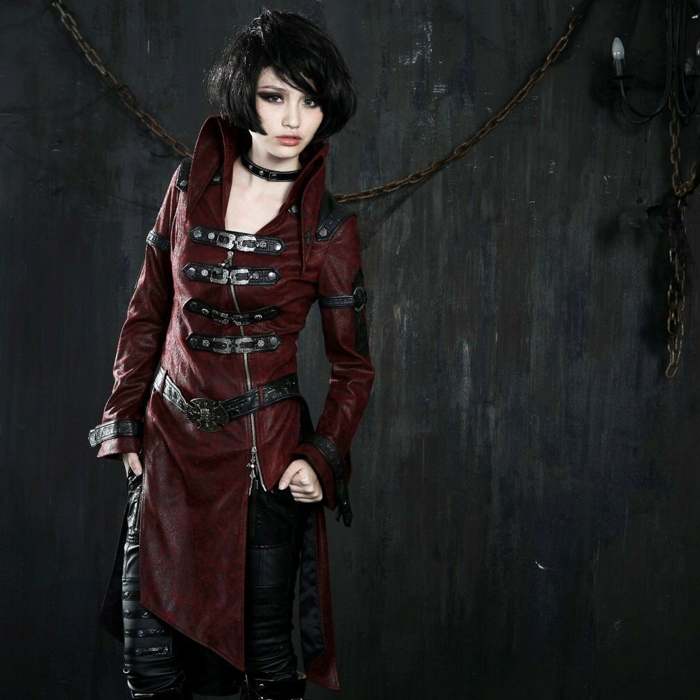 Punk Rave Dames Jas Rood Gothic Steampunk Post-Apocalyptic Visual Kei Y-261