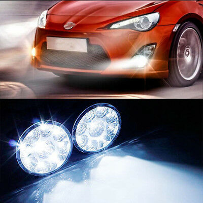 1 PAIR WHITE 12V 9 LED CAR AUTO ROUND DRL DAYTIME DAY DRIVING FOG LIGHT LAMP
