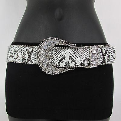 New Women Belt White Snake Print Faux Leather Fashion Silver Metal Buckle M L