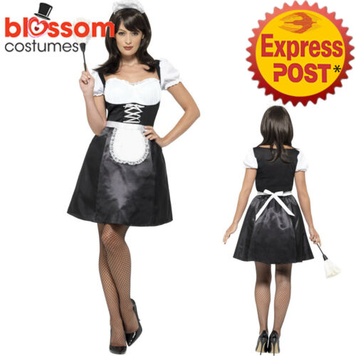CA373 French Maid Ladies Outfit Fancy Party Dress Up Costume Bucks Hens Uniform