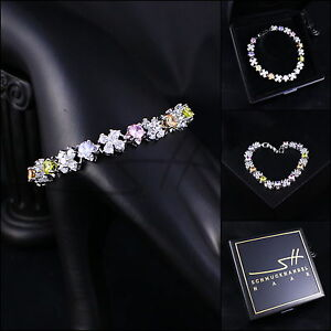 Edles-Armband-Bracelet-Multicolor-Weissgold-pl-Swarovski-Elements-Etui