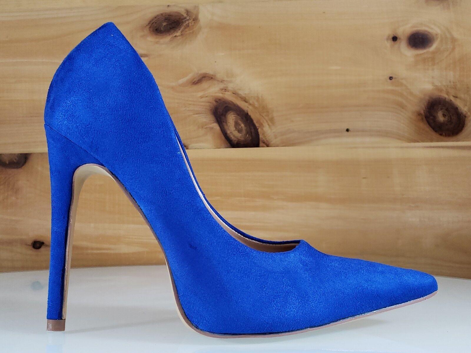 79ae53bebe20b Cherry Milly Vegan Suede Pointy Toe Pump shoes 4.5 High Heels bluee ...