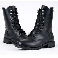 Women Flat Heel Combat Military Boots Biker Army Lace Up Chunky Walker Cool Shoe