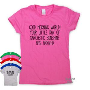 Dettagli Su Buongiorno Mondo Divertente T Shirt Da Uomo Umorismo Sarcastico Top Da Donna Slogan Tee Mostra Il Titolo Originale