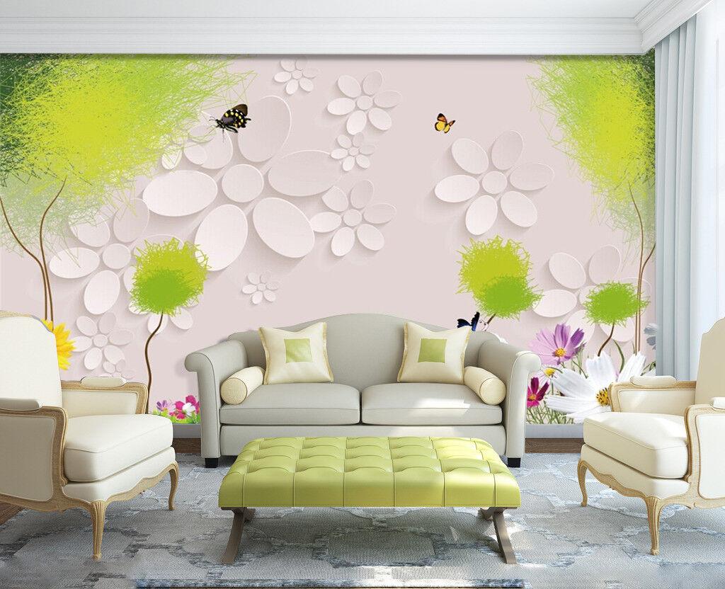3D Weiße Blumen 67 Tapete Tapeten Mauer Foto Familie Tapete Wandgemälde Summer